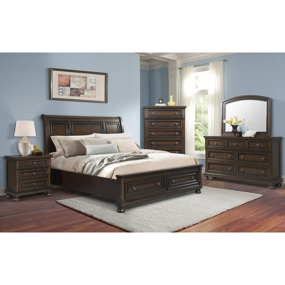 Nassau 5-Piece Storage Bedroom Suite (King Bed, Dresser, Mirror, Chest and