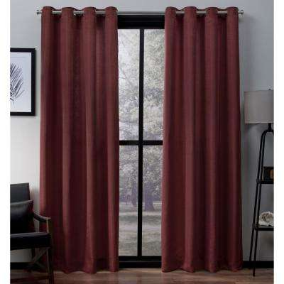 Virenze 54 in. W x 96 in. L Faux Silk Grommet Top Curtain Panel in Chili (2 Panels)