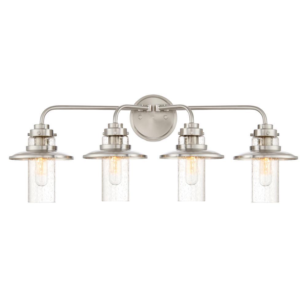 Dover 4-Light Satin Platinum Interior Bath Bar Light