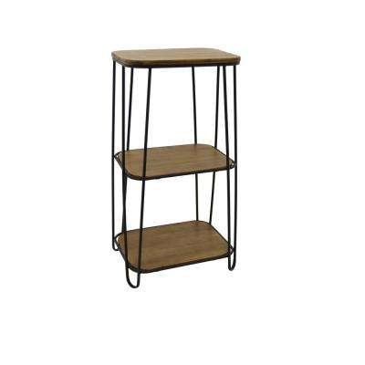 Brown Metal/Wood 2-Tier Rack