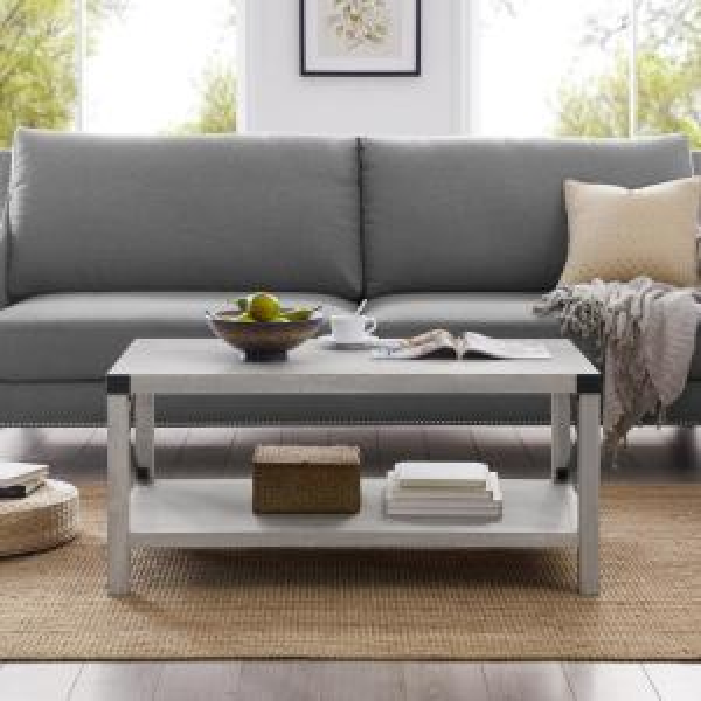 Walker Edison Furniture Company 40 in. Stone Grey Rustic ...