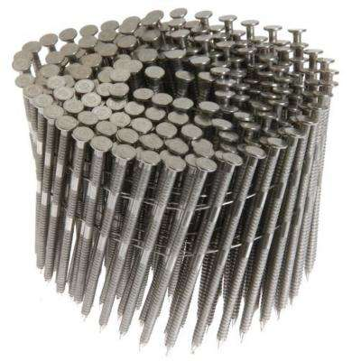 15-Degree 3 in. x 0.120 in. Wire Coil Ring Shank 304 Stainless Steel Framing Nails (1,800 per Box)