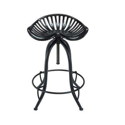 Win.ston 23.75 in. to 30.5 in. Black Adjustable Tractor Seat Stool