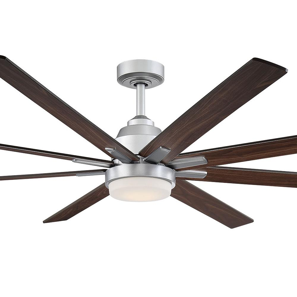 Fifth and Main Lighting Westport 72 in. LED Satin Silver Ceiling Fan with Walnut Blades