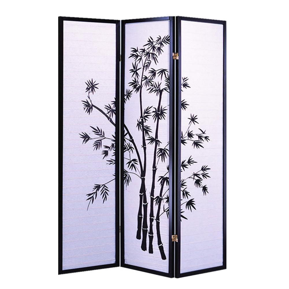 Bamboo Shoji Screen 6 ft. Black 3-Panel Room Divider