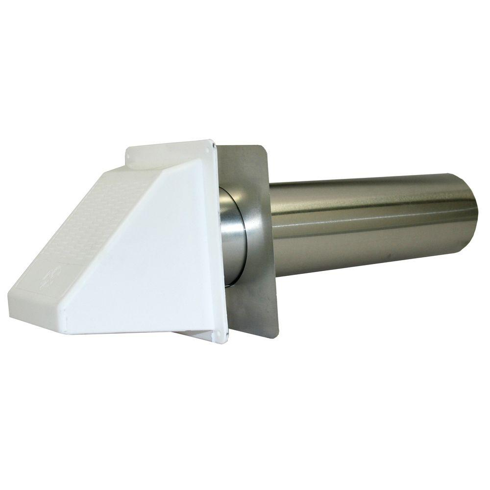 Speedi-Products 3 In. Plastic Wide Mouth Exhaust Hood In White With Back Draft Flapper And 11 In