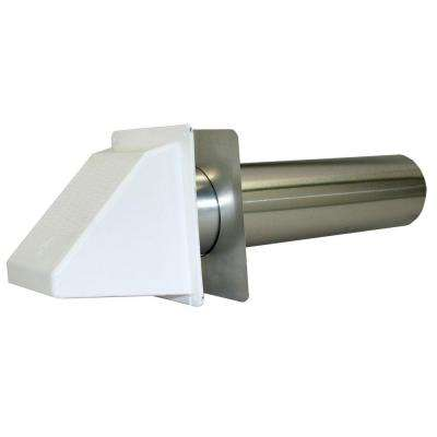 3 in. Plastic Wide Mouth Exhaust Hood in White with Back Draft Flapper and 11 in. Tail Pipe