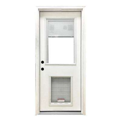 32 in. x 80 in. Classic Mini-Blind RHIS White Primed Textured Fiberglass Prehung Front Door with SL Pet Door