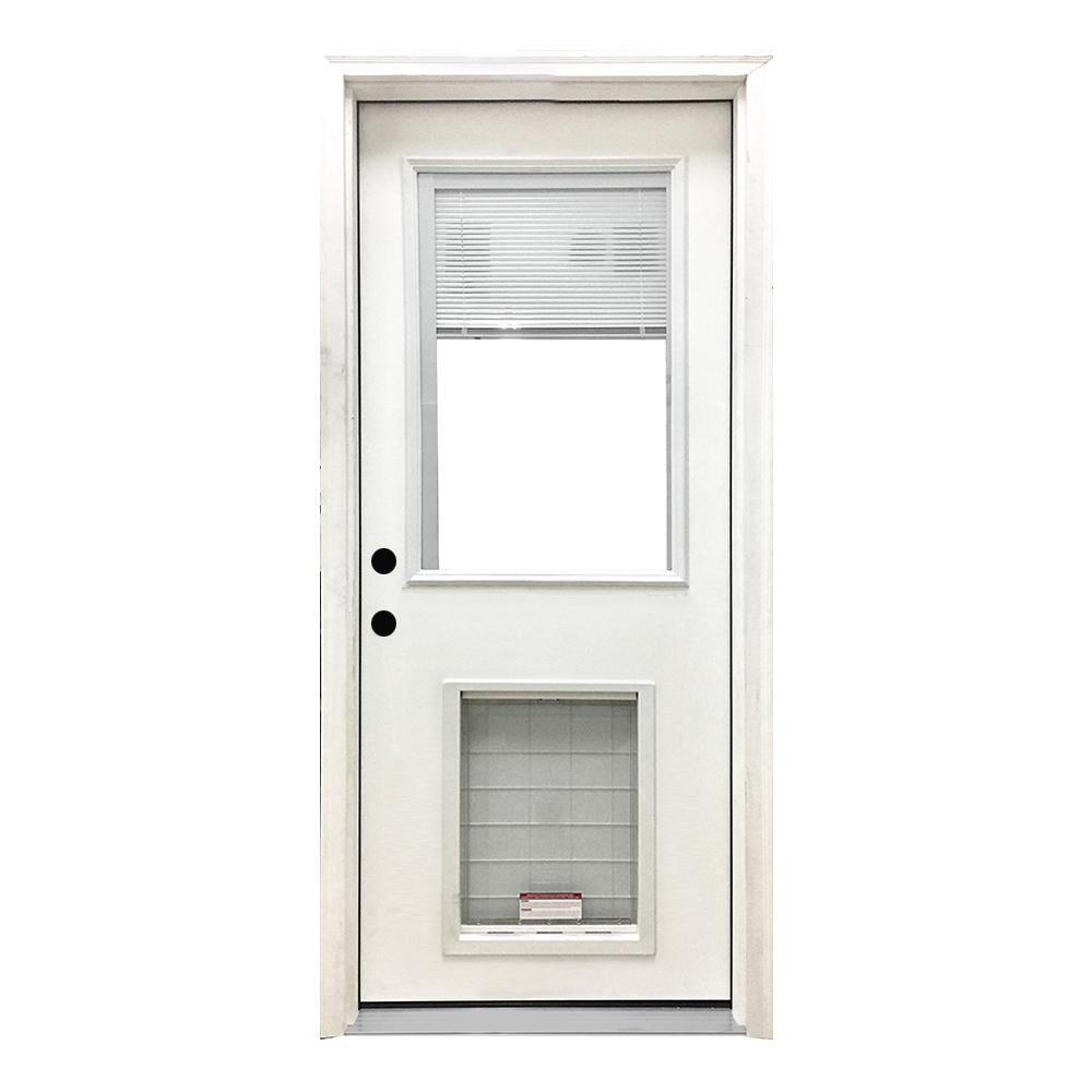 Steves Sons 32 In X 80 In Classic Mini Blind Rhis White Primed Textured Fiberglass Prehung