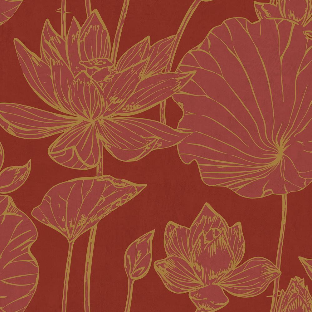 Seabrook Designs Lotus Metallic Gold and Crimson Floral Wallpaper AI42301