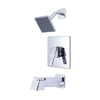 i3 1-Handle Tub and Shower Trim Kit in Polished Chrome with 4 in. Sqaure Showerhead and Ext Spout (Valve Not Included)