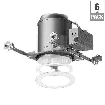 E26 Series 6 in. White Recessed Lighting Housing for New Construction Ceiling and Tapered Baffle Trim Kit (6-Pack)