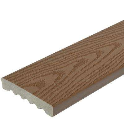 1 in. x 5-1/4 in. x 1 ft. Brown Square Edge Capped Composite Decking Board Sample