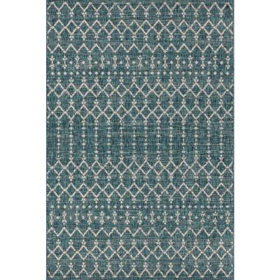 Ourika Moroccan Teal/Gray 7 ft. 9 in. x 10 ft. Geometric Textured Weave Indoor/Outdoor Area Rug