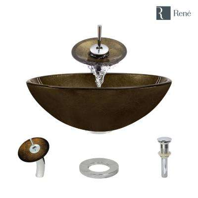 Glass Vessel Sink in Regal Bronze and Earth Tones with Waterfall Faucet and Pop-Up Drain in Chrome