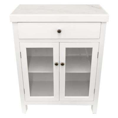 32.5 in. White Wood Cabinet with Marble Top