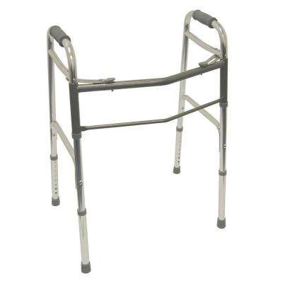 2-Button Release Aluminum Folding Walker with Rubber Tips in Silver