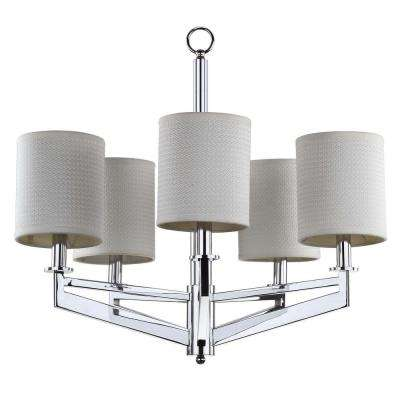 Axis 5-Light Chrome Chandelier with Off-White Shade
