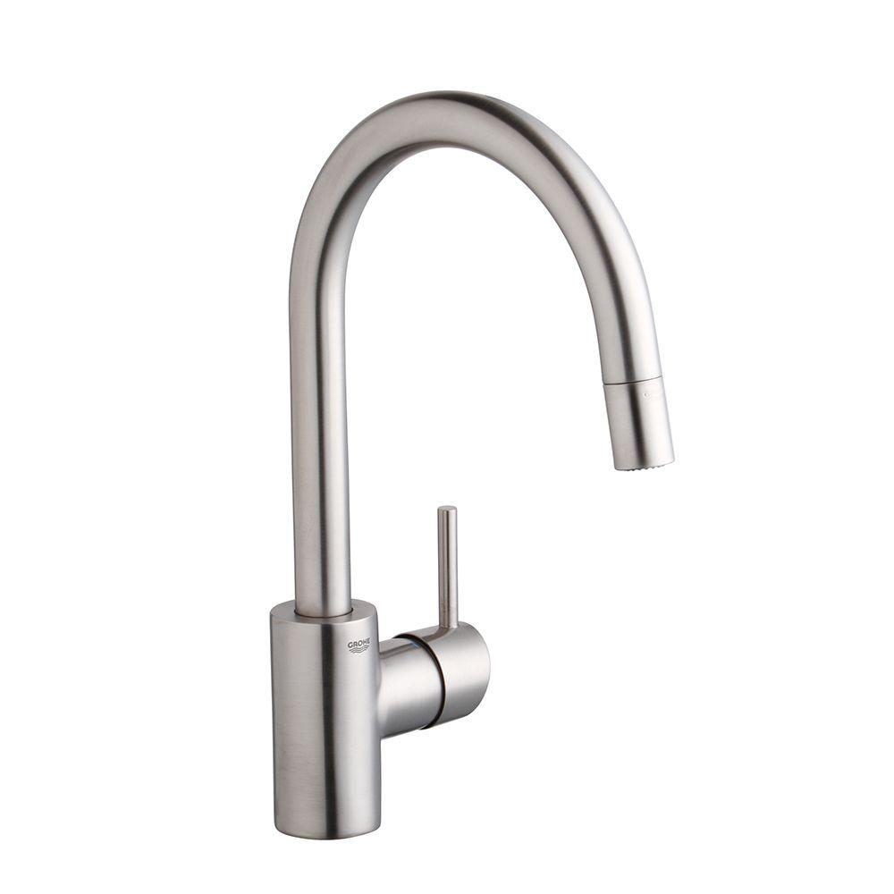 GROHE Concetto Single-Handle Pull-Down Sprayer Kitchen Faucet with ...