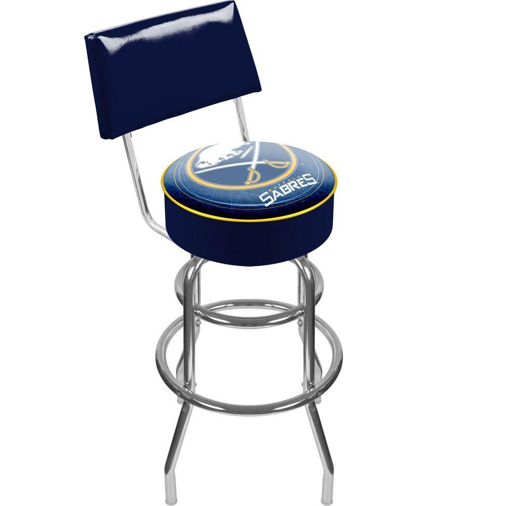 Trademark NHL Buffalo Sabers Padded Swivel Bar Stool in Back