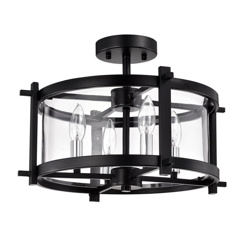 Sania 11 in. 4-Light Indoor Matte Black Semi-Flush Mount Light with Light Kit
