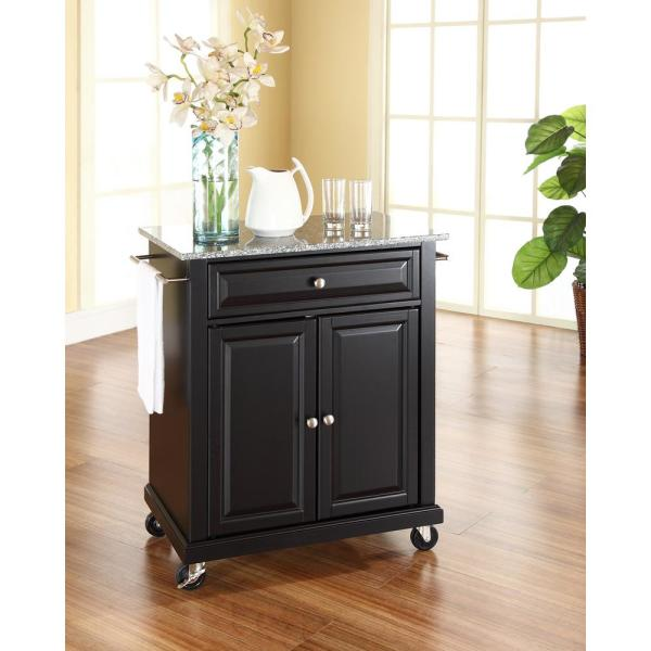 Crosley Black Kitchen Cart With Granite Top KF30023EBK