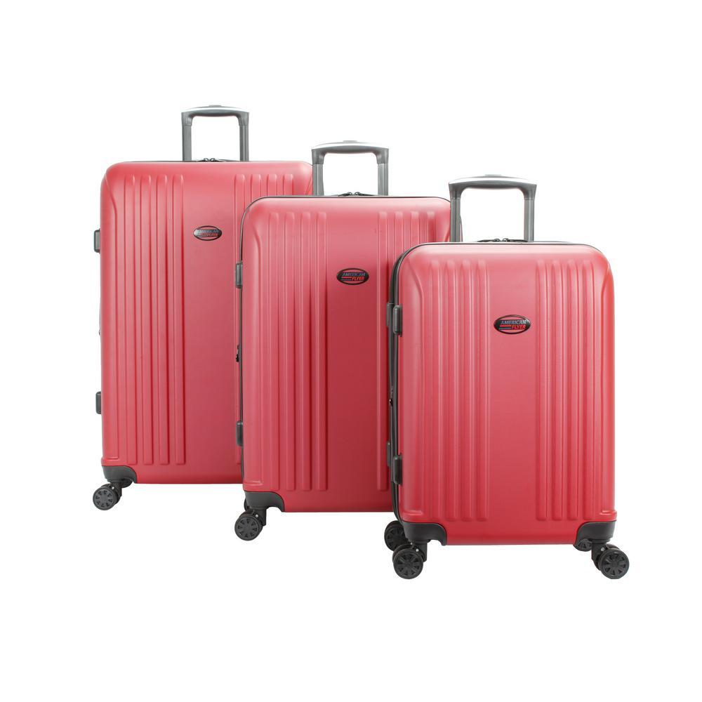226e35f2a American Flyer Moraga 3-Piece Red Hard Side Spinner Luggage Set ...