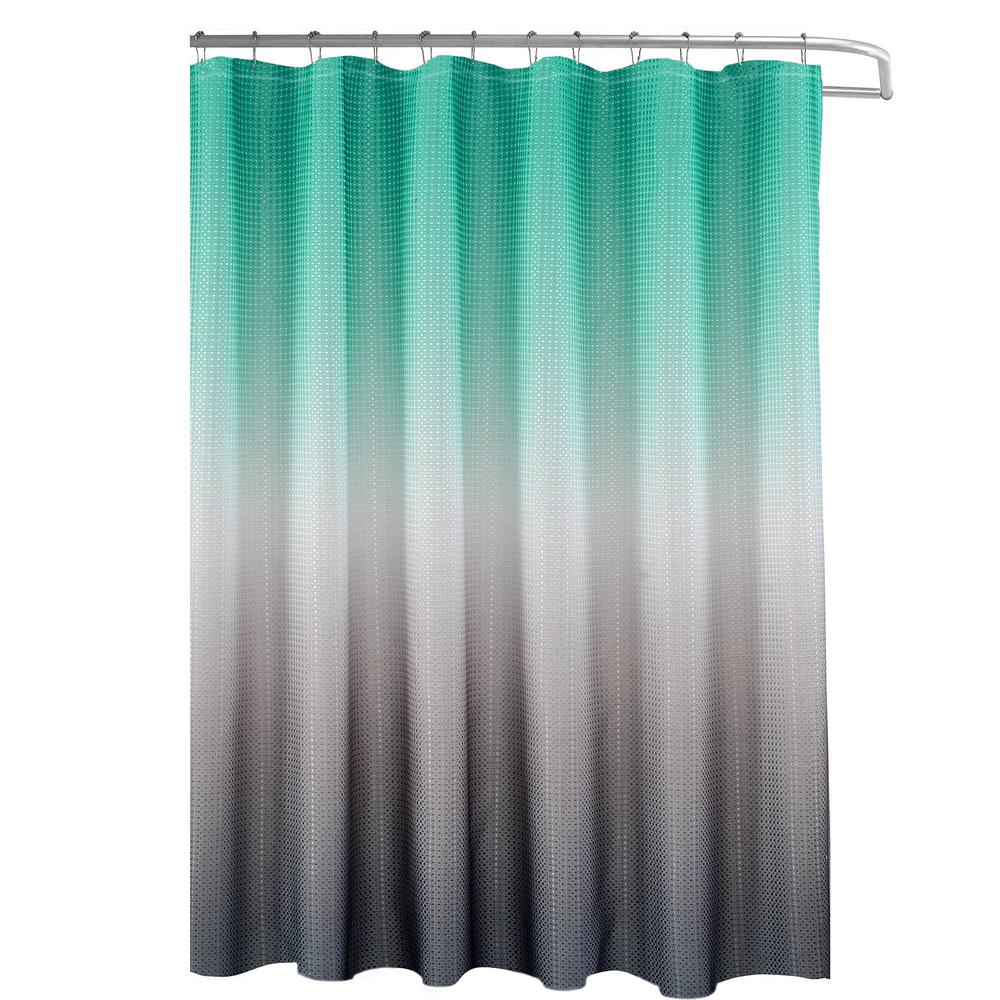 Grey And Turquoise Shower Curtain. Creative Home Ideas Ombre Waffle Weave 70 in  x 72 Turquoise Grey