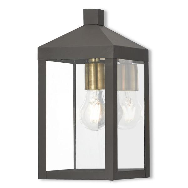 Nyack Collection 1-Light Bronze Outdoor Wall Lantern Sconce