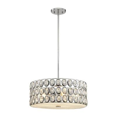 Tessa 5-Light Polished Chrome Chandelier with Clear Crystal and Metal Shade