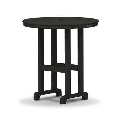 Monterey Bay 36 in. Charcoal Black Round Plastic Outdoor Patio Counter Table