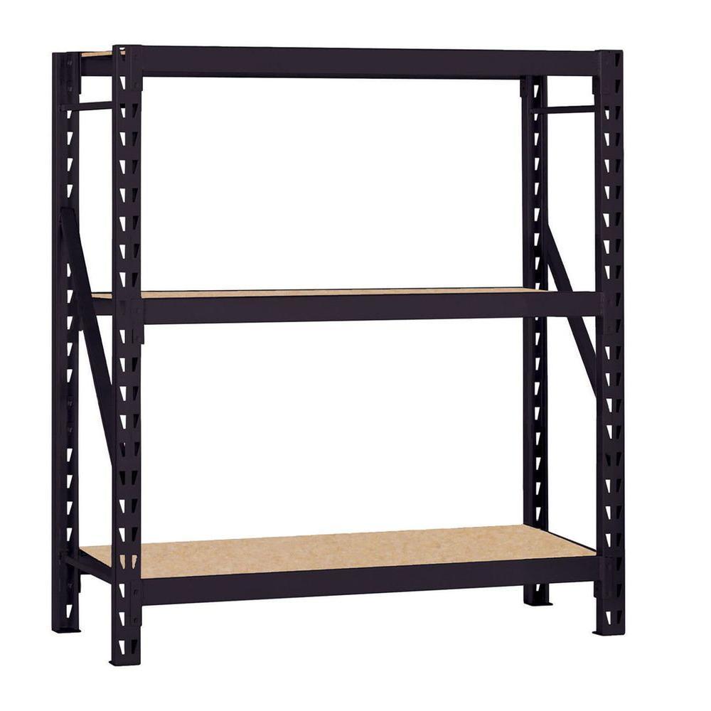 66 in. H x 60 in. W x 18 in. D Steel Commercial Shelving Unit in Black