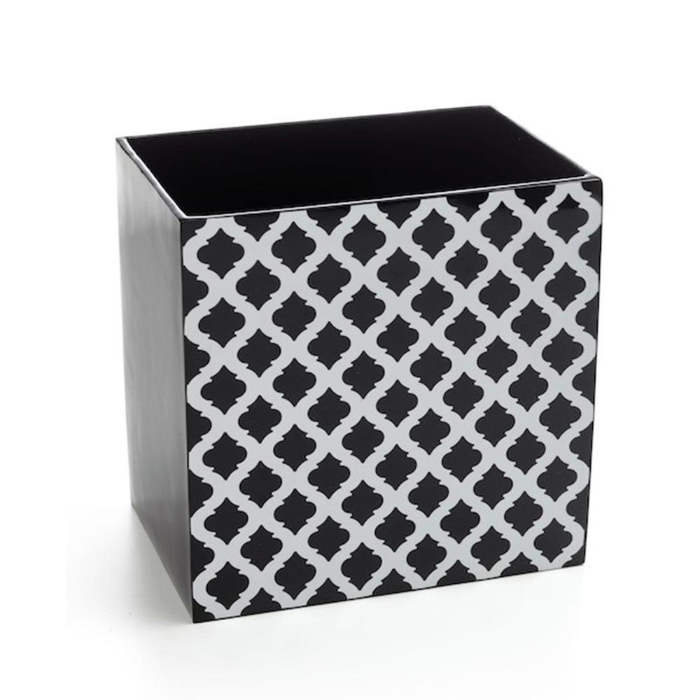 Filament Design Roselli Trading Company 10 in. Wastebasket in Black and White