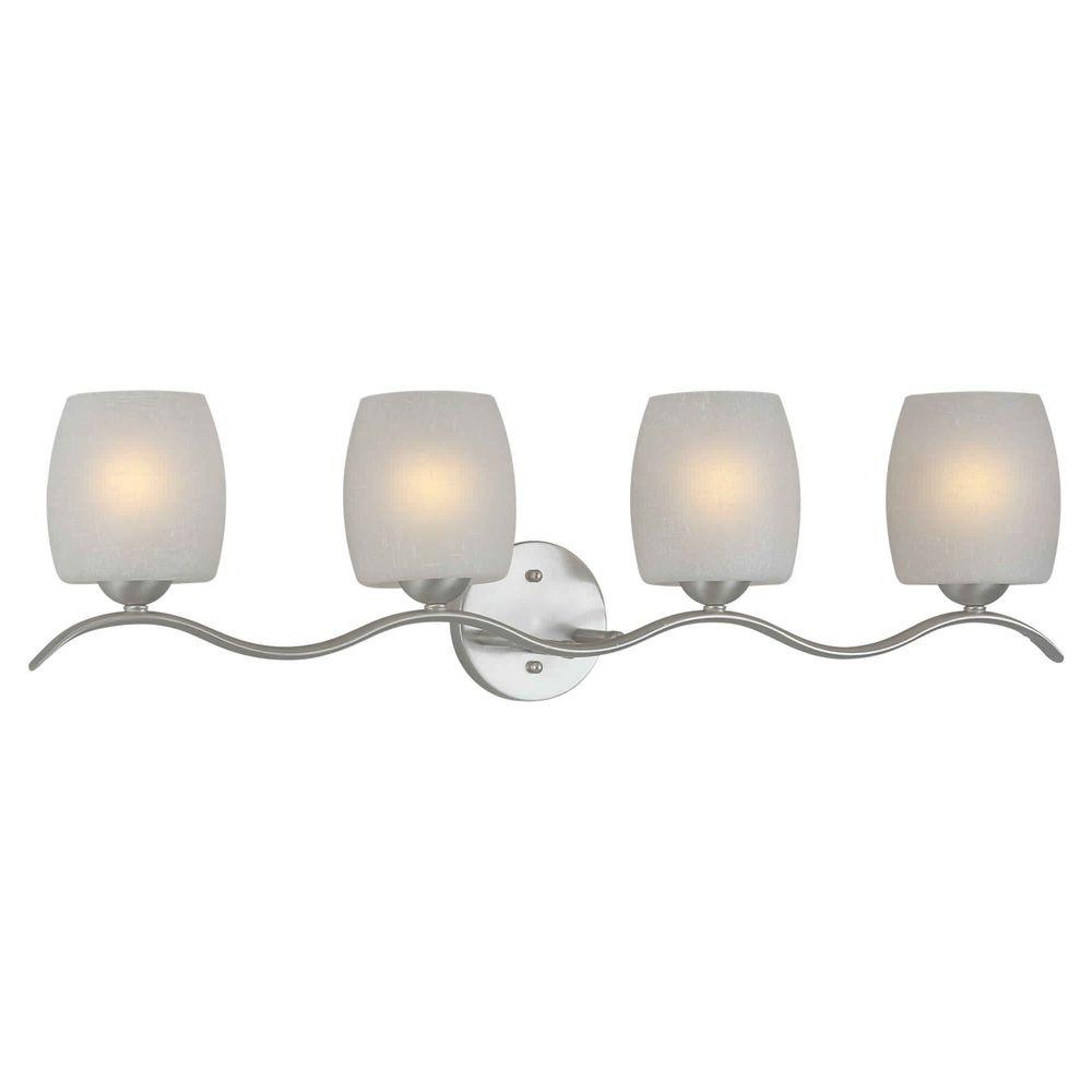 Talista Andrea 4-Light Brushed Nickel Bath Vanity Light with White Linen Glass