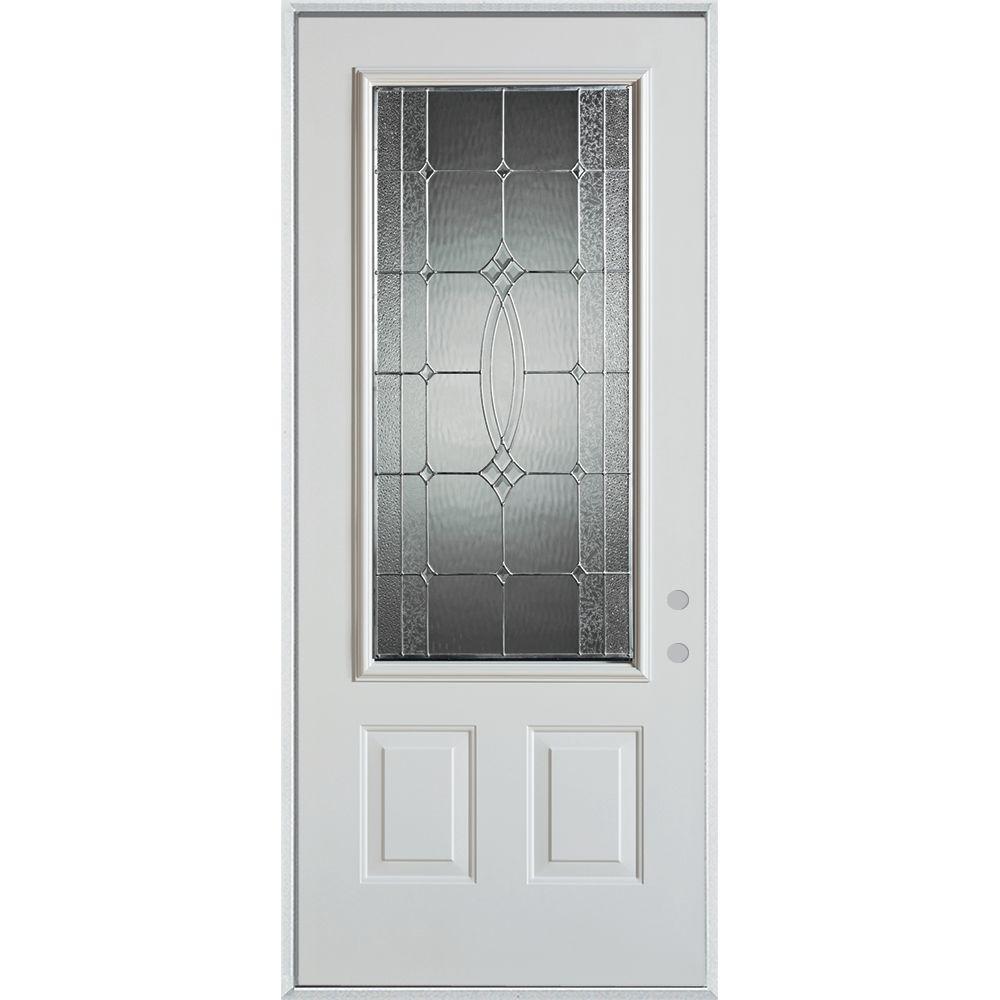 32 in. x 80 in. Diamanti Zinc 3/4 Lite 2-Panel Painted White Left-Hand Inswing Steel Prehung Front Door