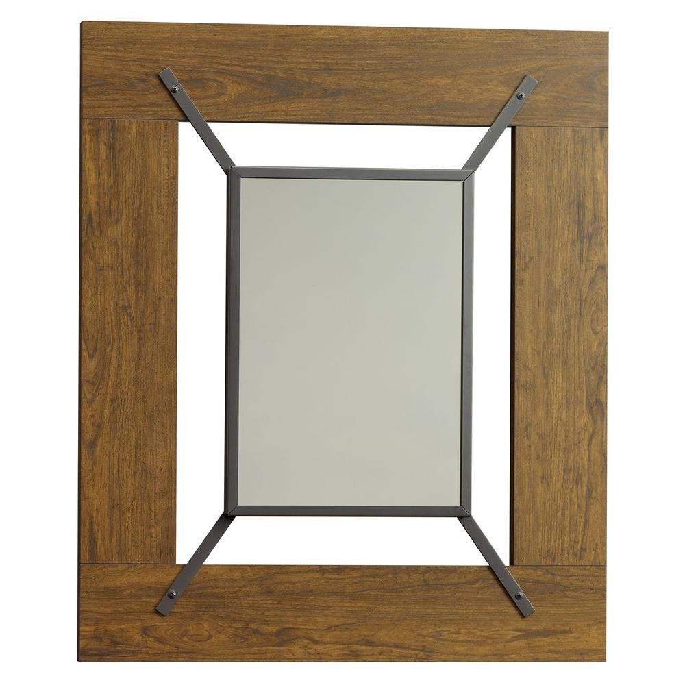 SAUDER Carson Forge Collection 36 in. x 30 in. Washington Cherry Framed Mirror