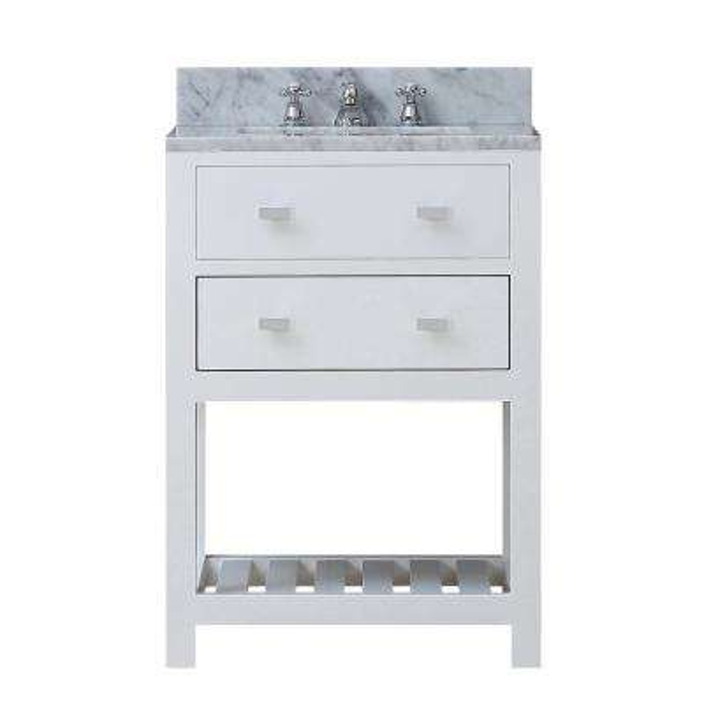 24 in. Vanity in Carrara White with Marble Vanity Top in Carrara White