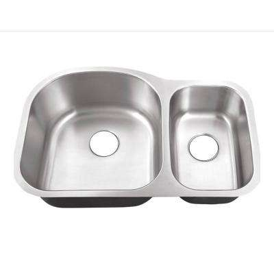 Undermount Stainless Steel 32 in. 0-Hole 70/30 Double Bowl Kitchen Sink
