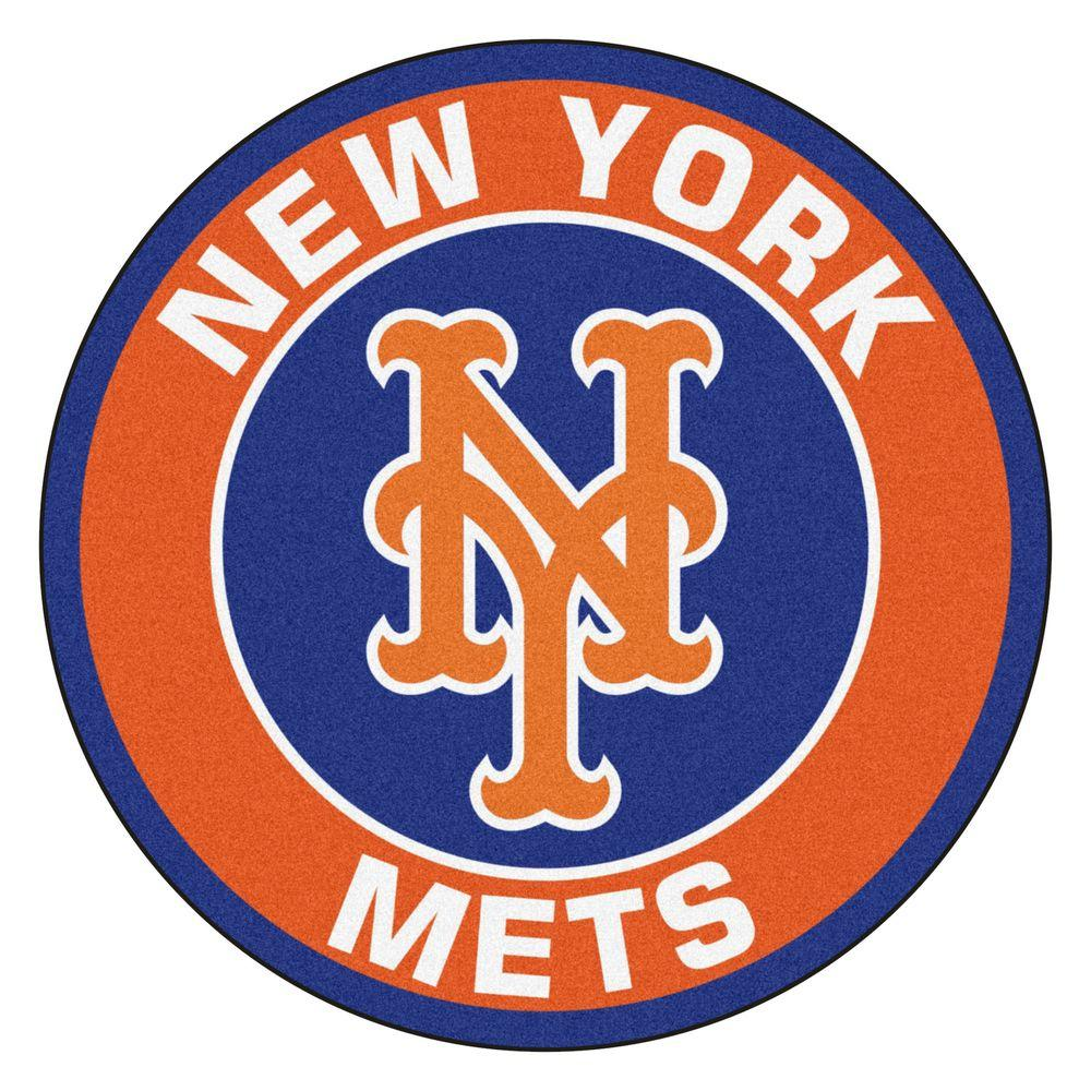 Fanmats Mlb New York Mets Orange 2 Ft X 2 Ft Round Area