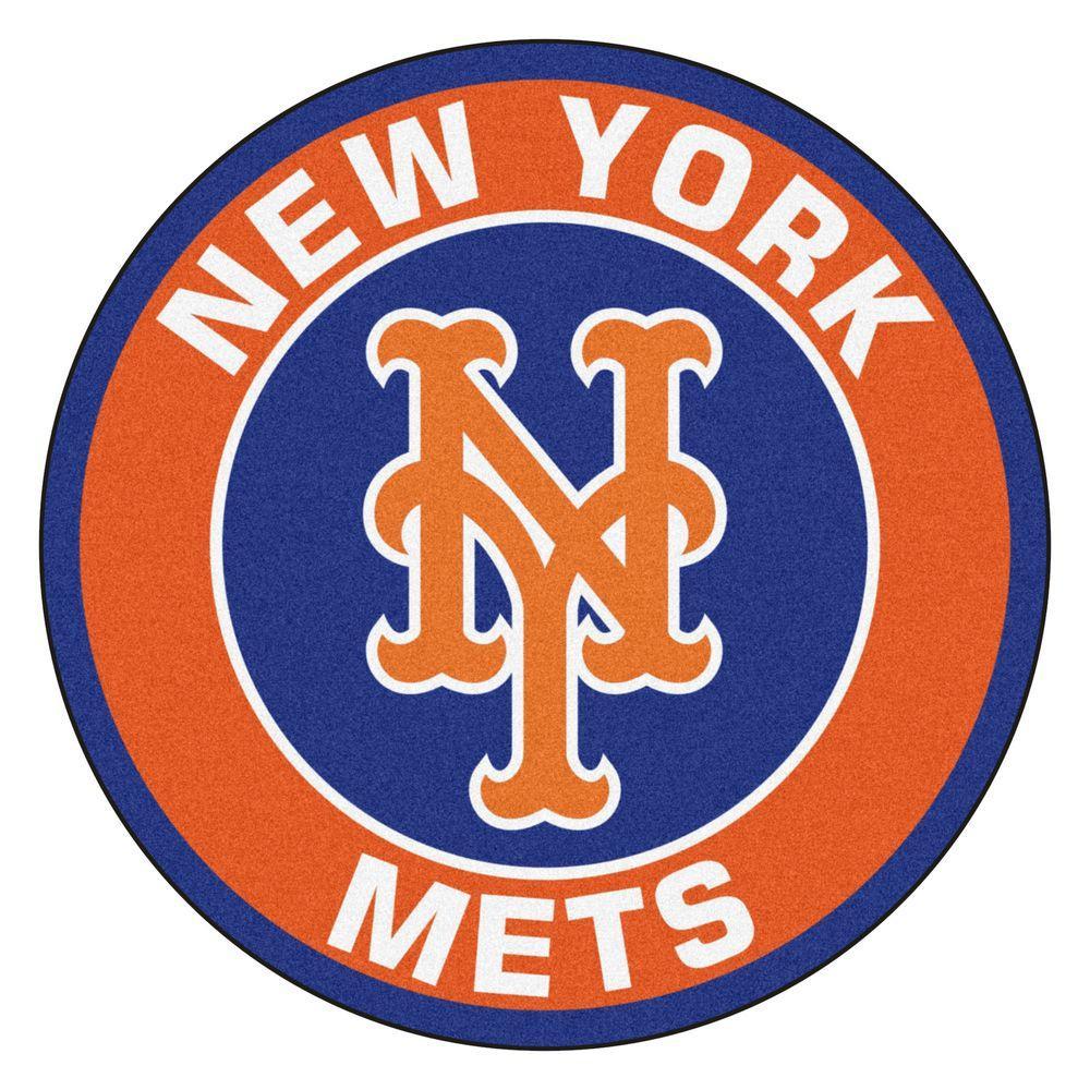 MLB New York Mets Orange 2 ft. x 2 ft. Round Area Rug