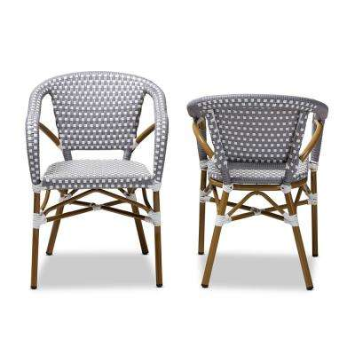 Eliane Gray and White Dining Chair (Set of 2)
