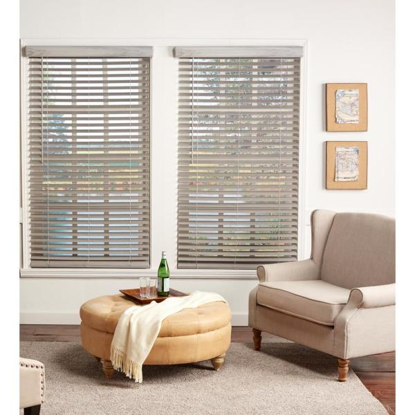 Perfect Lift Window Treatment Room Darkening Driftwood Gray 2 In Cordless Faux Wood Blind 22 5 In W X 72 In L Actual Size 22 5 In W X 72 In L Qjdg224720 The Home Depot