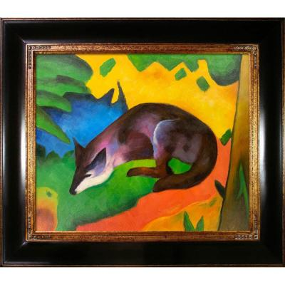 LA PASTICHE Blue Black Fox with Opulent Frame by Franz Marc Oil Painting, Multi-Colored