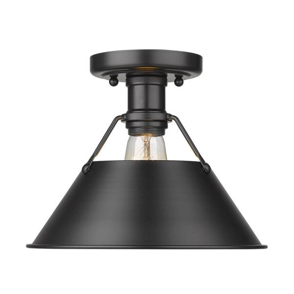 Orwell 10 in. 1-Light Matte Black Flush Mount