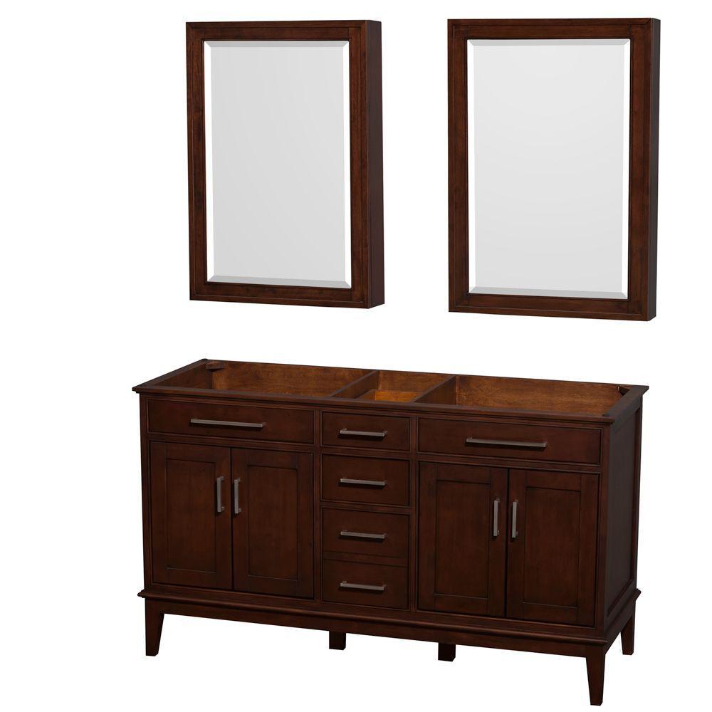 Wyndham Collection Hatton 60 in. Double Vanity Cabinet with Medicine Cabinets in Dark Chestnut