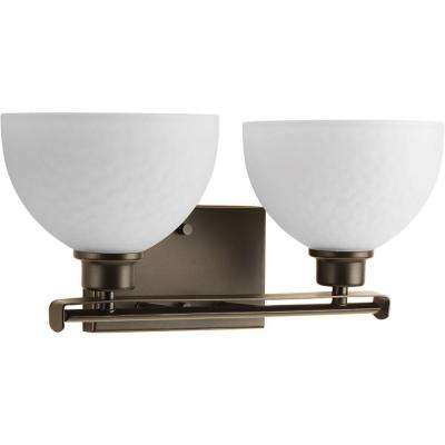 Legend Collection 2-Light Antique Bronze Bathroom Vanity Light with Glass Shades
