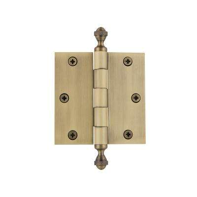 3.5 in. Acorn Tip Residential Hinge with Square Corners in Vintage Brass