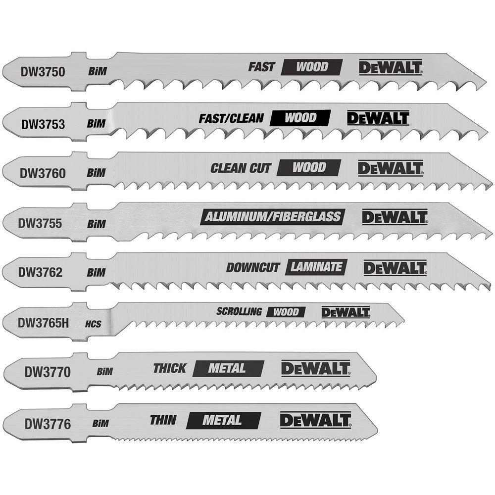 Dewalt multi purpose jigsaw blade saw blades the home depot jig saw blade set bi metal t shank 8 piece greentooth Choice Image