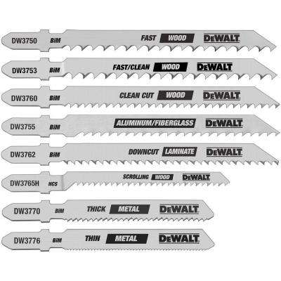 Jig Saw Blade Set Bi-Metal T-Shank (8-Piece)