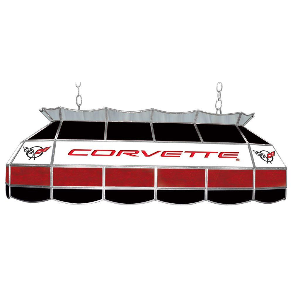 Carver Pool Table Light At Hayneedle: Trademark Corvette 3-Light Stained Glass Hanging Tiffany